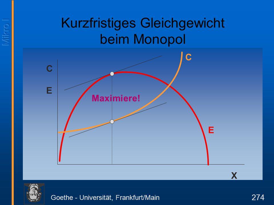 Goethe - Universität, Frankfurt/Main 274 X CECE E C Maximiere! Kurzfristiges Gleichgewicht beim Monopol