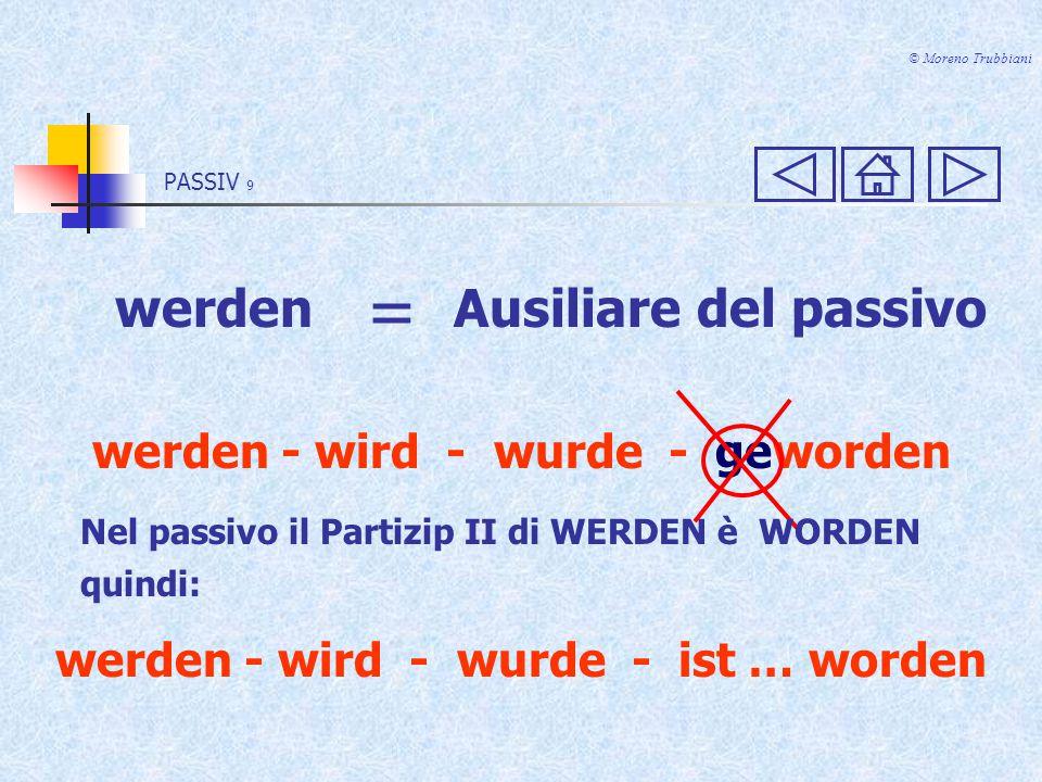 © Moreno Trubbiani werden = Ausiliare del passivo werden - wird - wurde - geworden Nel passivo il Partizip II di WERDEN è WORDEN quindi: werden - wird - wurde - ist … worden PASSIV 9