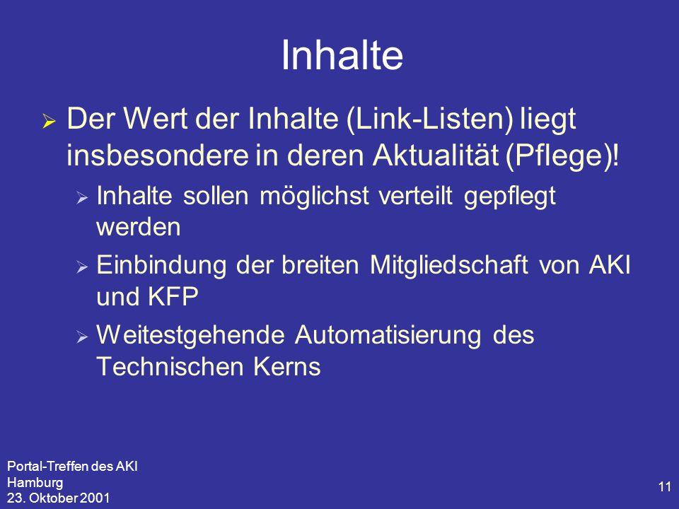 Portal-Treffen des AKI Hamburg 23. Oktober 2001 11 Inhalte  Der Wert der Inhalte (Link-Listen) liegt insbesondere in deren Aktualität (Pflege)!  Inh