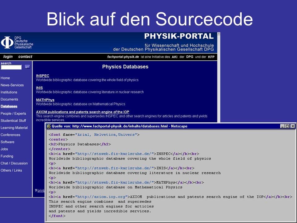 Portal-Treffen des AKI Hamburg 23. Oktober 2001 4 Blick auf den Sourcecode
