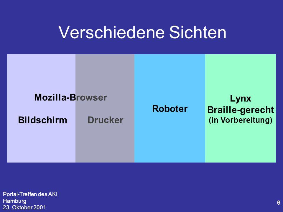 Portal-Treffen des AKI Hamburg 23. Oktober 2001 6 Verschiedene Sichten Mozilla-Browser Bildschirm Drucker Roboter Lynx Braille-gerecht (in Vorbereitun