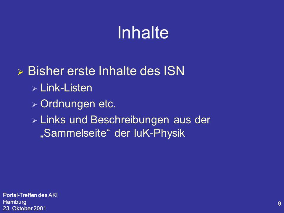 Portal-Treffen des AKI Hamburg 23. Oktober 2001 9 Inhalte  Bisher erste Inhalte des ISN  Link-Listen  Ordnungen etc.  Links und Beschreibungen aus