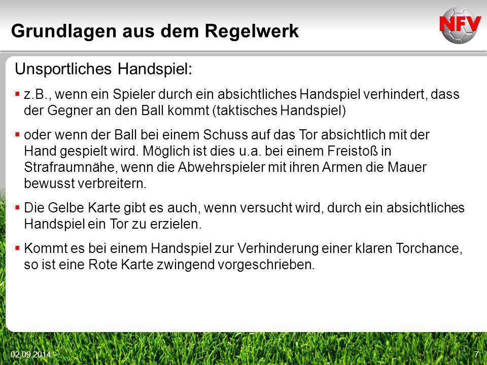 Grundlagen aus dem Regelwerk 02.09.20147 Unsportliches Handspiel:  z.B., wenn ein Spieler durch ein absichtliches Handspiel verhindert, dass der Gegn