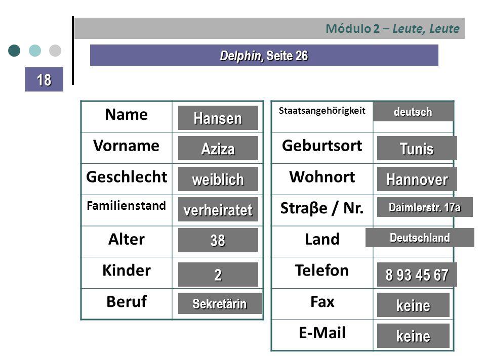 Módulo 2 – Leute, Leute Delphin, Seite 26 Name Vorname Geschlecht Familienstand Alter Kinder Beruf Staatsangehörigkeit Geburtsort Wohnort Straβe / Nr.