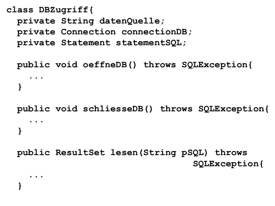 public void einfuegen(String pSQL) throws SQLException{... }