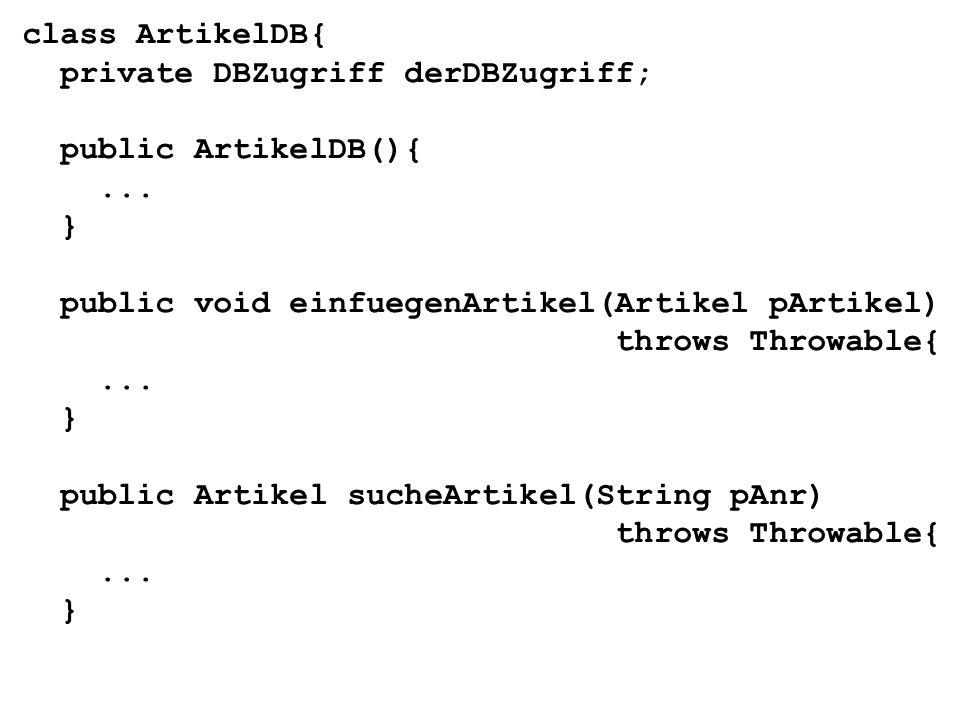 class Artikel{ private String aNr; private String bezeichnung; private int bestand; private double preis; Artikel(){ } Artikel(String pAnr, String pBezeichnung, int pBestand, double pPreis){...