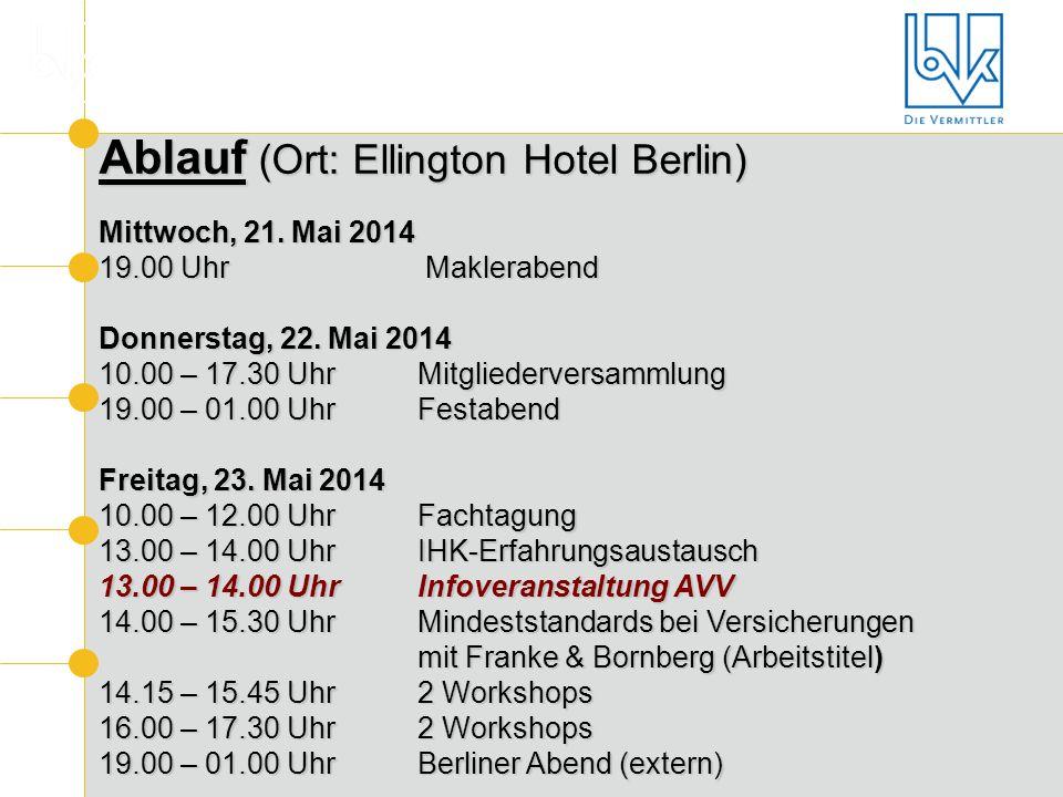 Ablauf (Ort: Ellington Hotel Berlin) Mittwoch, 21. Mai 2014 19.00 Uhr Maklerabend Donnerstag, 22. Mai 2014 10.00 – 17.30 Uhr Mitgliederversammlung 19.