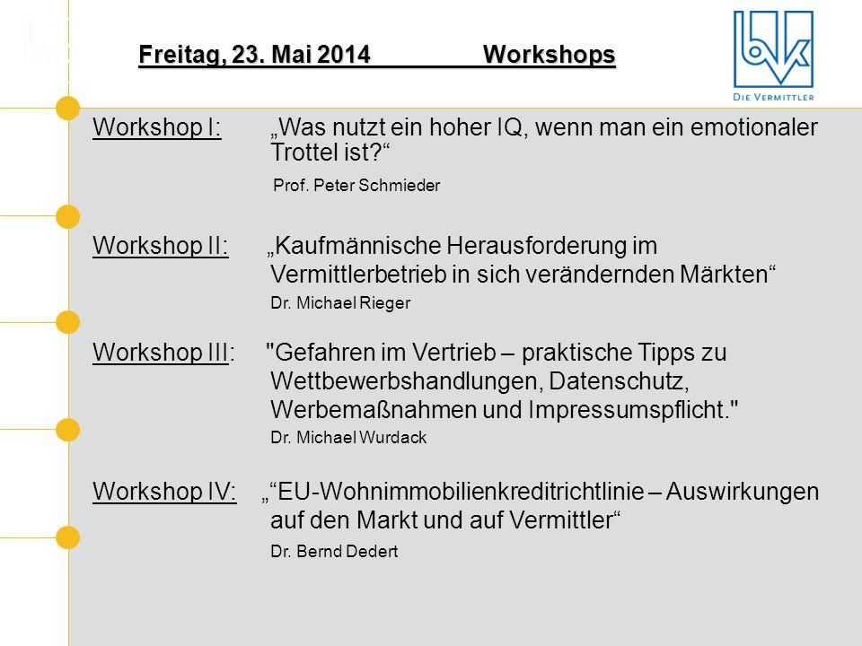 """Freitag, 23. Mai 2014Workshops Workshop I: """"Was nutzt ein hoher IQ, wenn man ein emotionaler Trottel ist?"""" Prof. Peter Schmieder Workshop II: """"Kaufmän"""