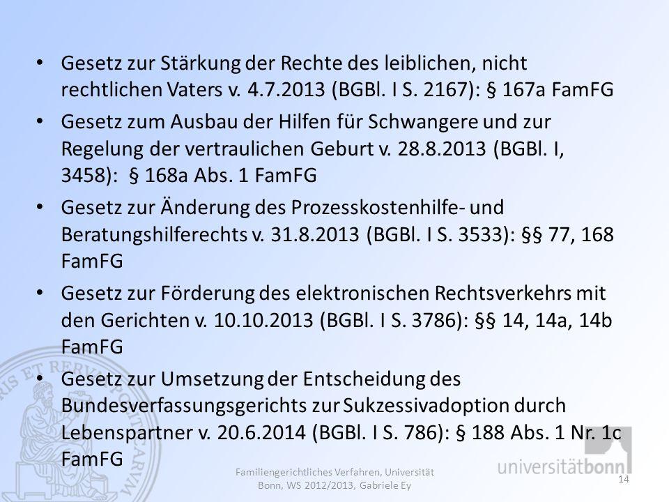 Gesetz zur Stärkung der Rechte des leiblichen, nicht rechtlichen Vaters v. 4.7.2013 (BGBl. I S. 2167): § 167a FamFG Gesetz zum Ausbau der Hilfen für S