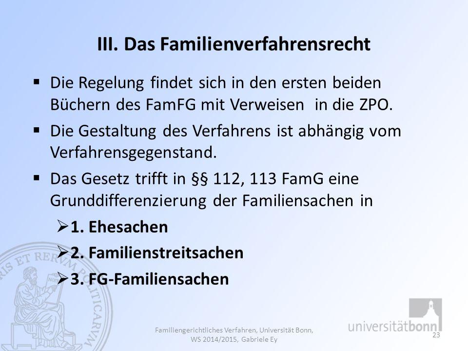 III. Das Familienverfahrensrecht  Die Regelung findet sich in den ersten beiden Büchern des FamFG mit Verweisen in die ZPO.  Die Gestaltung des Verf