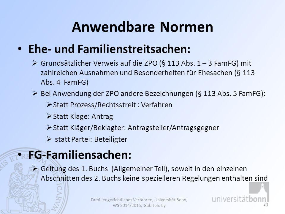 Anwendbare Normen Ehe- und Familienstreitsachen:  Grundsätzlicher Verweis auf die ZPO (§ 113 Abs. 1 – 3 FamFG) mit zahlreichen Ausnahmen und Besonder
