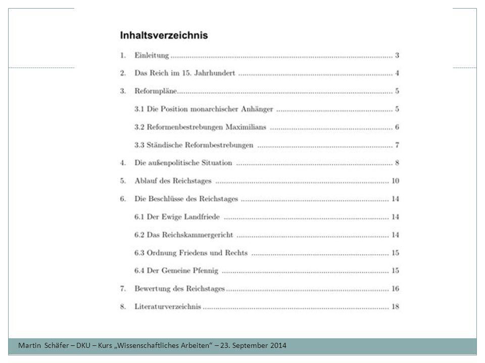 """Ziele Martin Schäfer – DKU – Kurs """"Wissenschaftliches Arbeiten – 23. September 2014"""