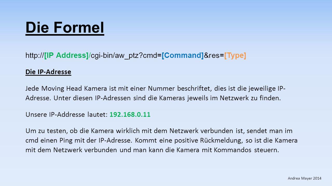Die Formel http://[IP Address]/cgi-bin/aw_ptz?cmd=[Command]&res=[Type] Das Kommando Command – Beispiel : #APC8000FFFF Ein Command besteht aus einem bestimmten Kommando und einem Datenwert.