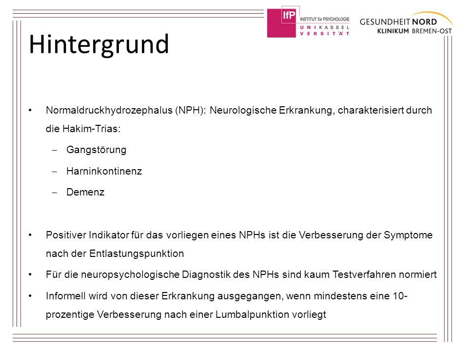Hintergrund Normaldruckhydrozephalus (NPH): Neurologische Erkrankung, charakterisiert durch die Hakim-Trias:  Gangstörung  Harninkontinenz  Demenz