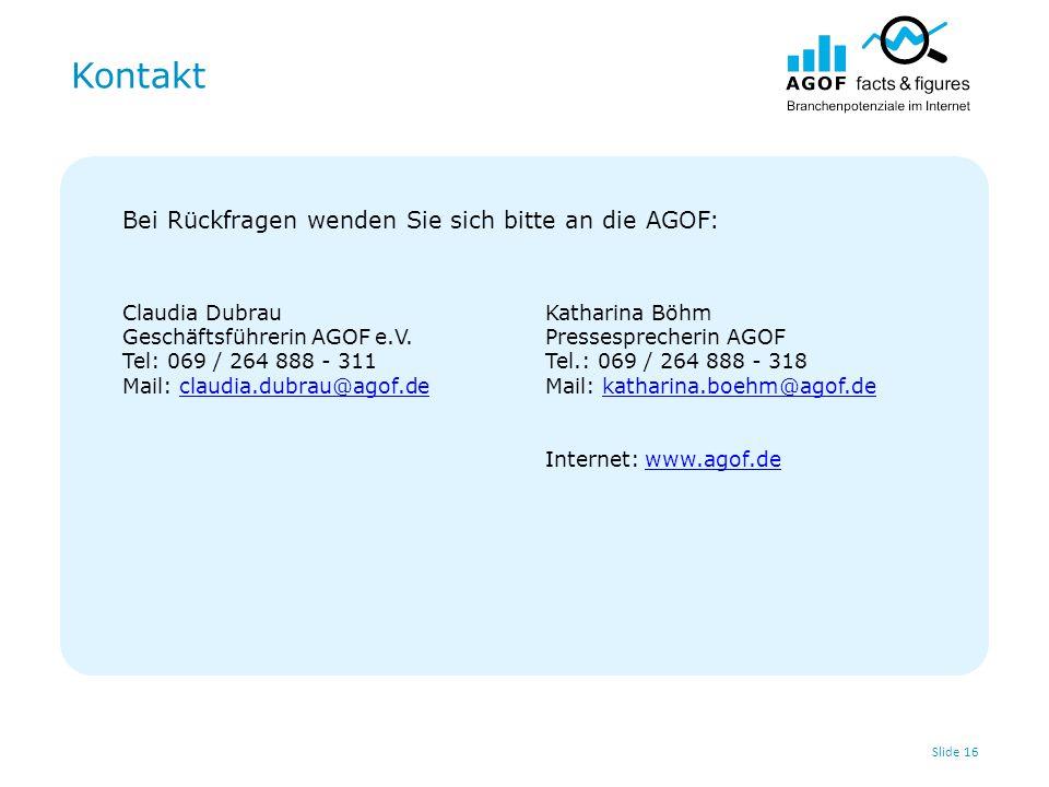 Kontakt Slide 16 Bei Rückfragen wenden Sie sich bitte an die AGOF: Claudia Dubrau Geschäftsführerin AGOF e.V. Tel: 069 / 264 888 - 311 Mail: claudia.d