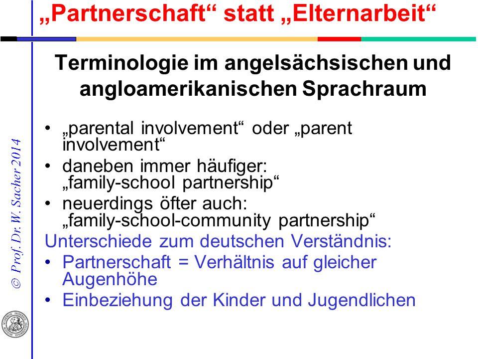 """ Prof. Dr. W. Sacher 2014 """"parental involvement"""" oder """"parent involvement"""" daneben immer häufiger: """"family-school partnership"""" neuerdings öfter auch:"""