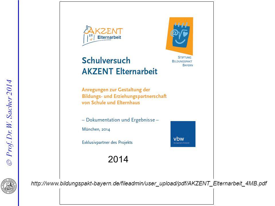  Prof. Dr. W. Sacher 2014 http://www.bildungspakt-bayern.de/fileadmin/user_upload/pdf/AKZENT_Elternarbeit_4MB.pdf 2014