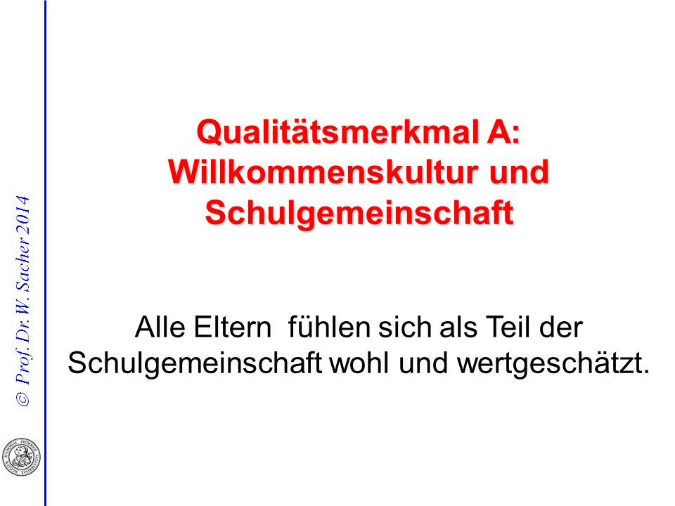  Prof. Dr. W. Sacher 2014 Qualitätsmerkmal A: Willkommenskultur und Schulgemeinschaft Alle Eltern fühlen sich als Teil der Schulgemeinschaft wohl und
