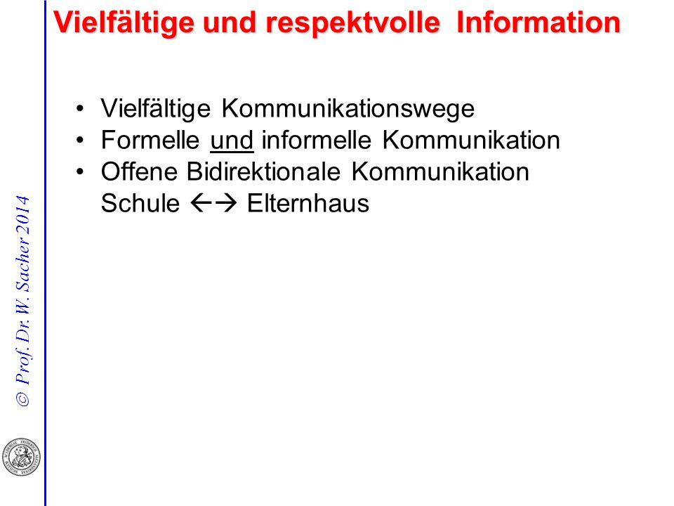  Prof. Dr. W. Sacher 2014 Vielfältige und respektvolle Information Vielfältige Kommunikationswege Formelle und informelle Kommunikation Offene Bidire