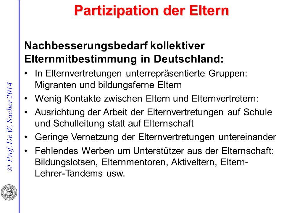  Prof. Dr. W. Sacher 2014 Nachbesserungsbedarf kollektiver Elternmitbestimmung in Deutschland: In Elternvertretungen unterrepräsentierte Gruppen: Mig