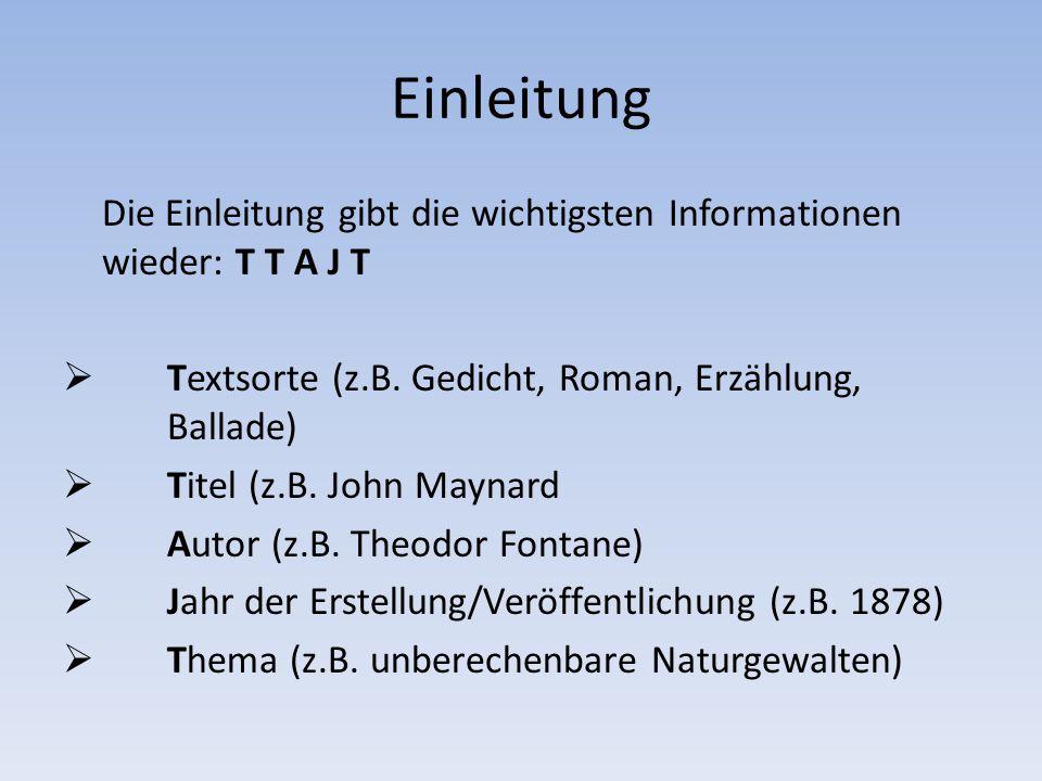 Einleitung Die Einleitung gibt die wichtigsten Informationen wieder: T T A J T  Textsorte (z.B. Gedicht, Roman, Erzählung, Ballade)  Titel (z.B. Joh