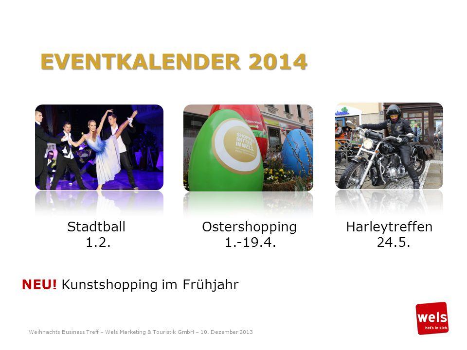 EVENTKALENDER 2014 Stadtball Ostershopping Harleytreffen 1.2. 1.-19.4. 24.5. NEU! Kunstshopping im Frühjahr Weihnachts Business Treff – Wels Marketing