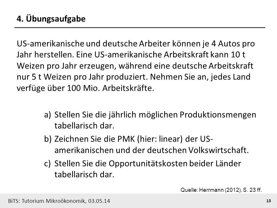 13 BiTS: Tutorium Mikroökonomik, 03.05.14 4. Übungsaufgabe US-amerikanische und deutsche Arbeiter können je 4 Autos pro Jahr herstellen. Eine US-ameri