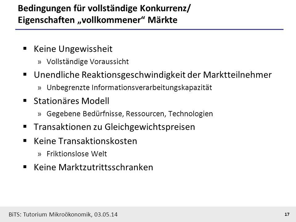 """17 BiTS: Tutorium Mikroökonomik, 03.05.14 Bedingungen für vollständige Konkurrenz/ Eigenschaften """"vollkommener"""" Märkte  Keine Ungewissheit »Vollständ"""