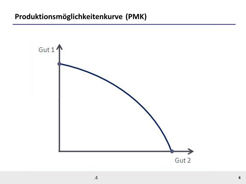 6 BiTS: Tutorium Mikroökonomik, 03.05.14 Produktionsmöglichkeitenkurve (PMK)