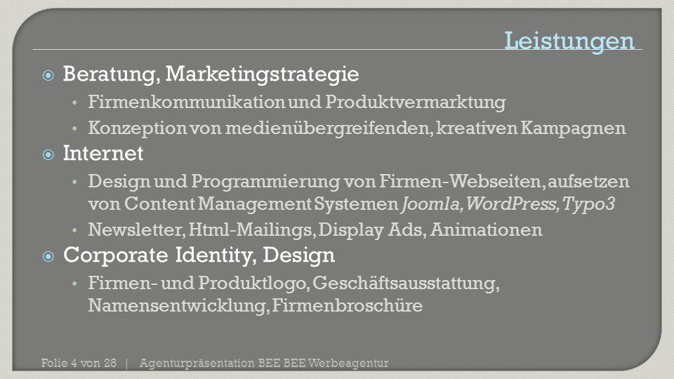 Agenturpräsentation BEE BEE Werbeagentur Folie 4 von 28 |  Beratung, Marketingstrategie Firmenkommunikation und Produktvermarktung Konzeption von med