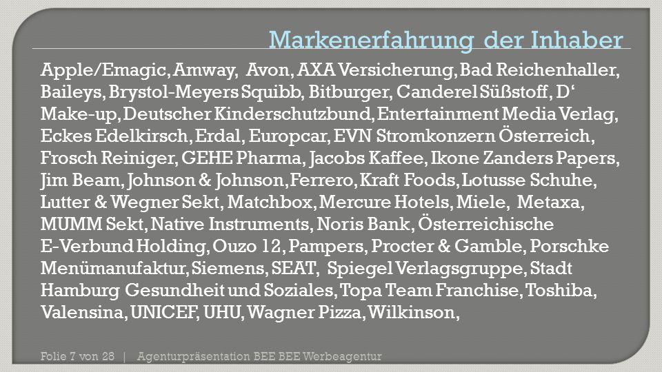 Agenturpräsentation BEE BEE Werbeagentur Folie 7 von 28 | Apple/Emagic, Amway, Avon, AXA Versicherung, Bad Reichenhaller, Baileys, Brystol-Meyers Squi