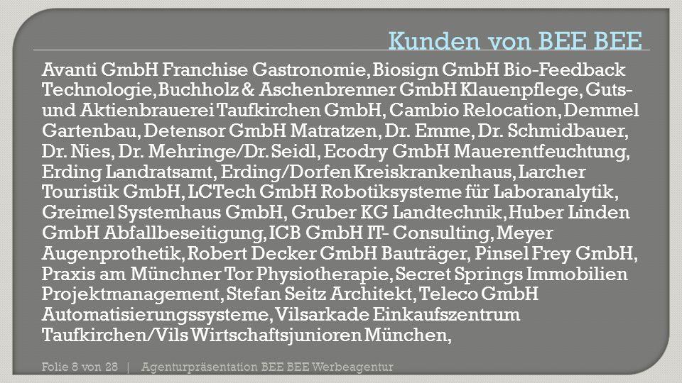 Agenturpräsentation BEE BEE Werbeagentur Folie 8 von 28 | Avanti GmbH Franchise Gastronomie, Biosign GmbH Bio-Feedback Technologie, Buchholz & Aschenb
