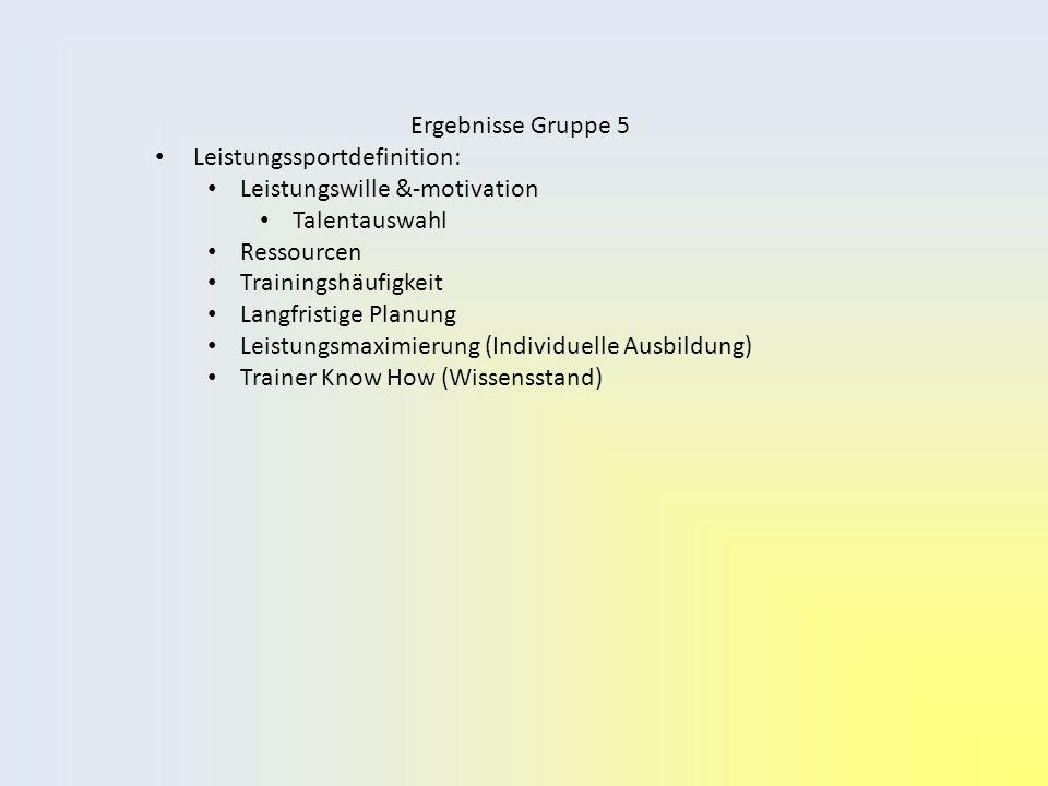 Ergebnisse Gruppe 5 Leistungssportdefinition: Leistungswille &-motivation Talentauswahl Ressourcen Trainingshäufigkeit Langfristige Planung Leistungsmaximierung (Individuelle Ausbildung) Trainer Know How (Wissensstand)