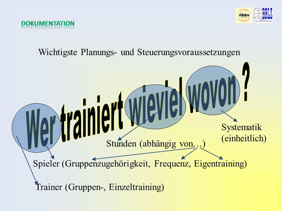 Wichtigste Planungs- und Steuerungsvoraussetzungen Spieler (Gruppenzugehörigkeit, Frequenz, Eigentraining) Trainer (Gruppen-, Einzeltraining) Stunden (abhängig von…) Systematik (einheitlich)