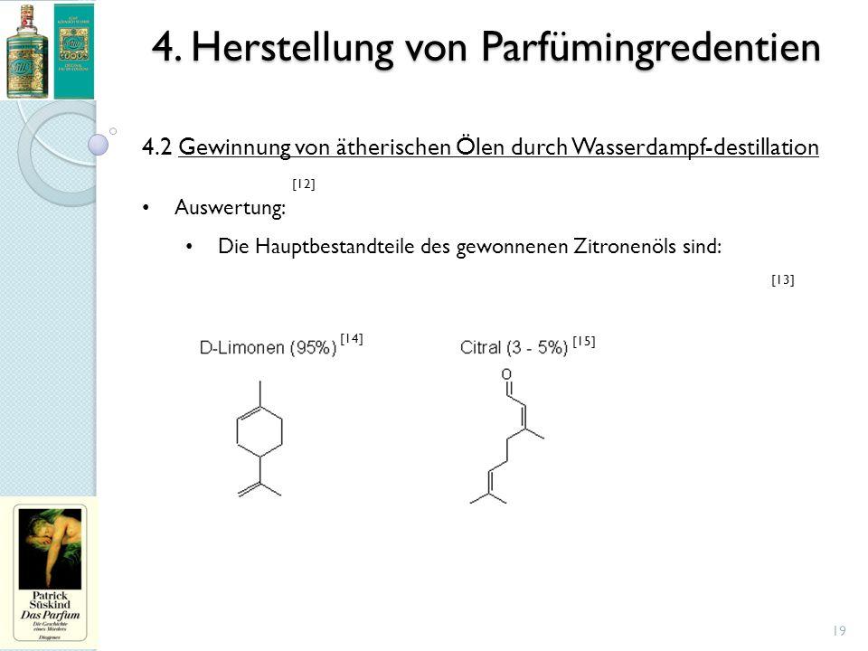 4. Herstellung von Parfümingredentien 19 4.2 Gewinnung von ätherischen Ölen durch Wasserdampf-destillation Auswertung: Die Hauptbestandteile des gewon