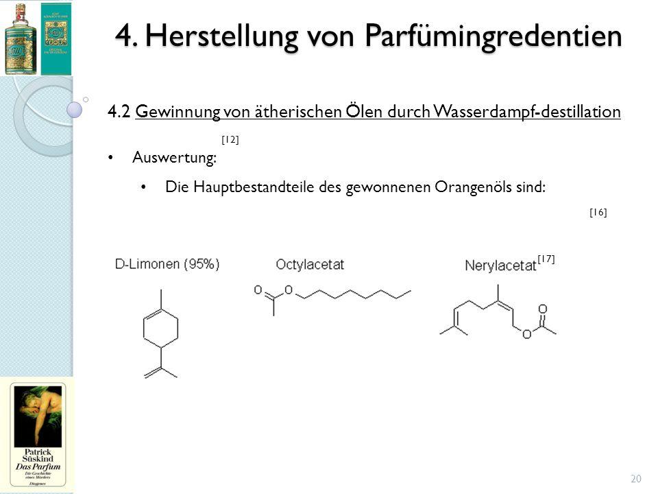 4. Herstellung von Parfümingredentien 20 4.2 Gewinnung von ätherischen Ölen durch Wasserdampf-destillation Auswertung: Die Hauptbestandteile des gewon