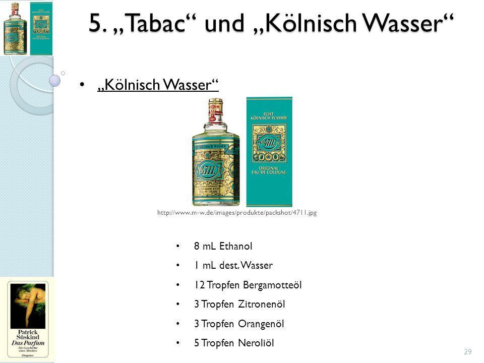 """29 """"Kölnisch Wasser"""" 8 mL Ethanol 1 mL dest. Wasser 12 Tropfen Bergamotteöl 3 Tropfen Zitronenöl 3 Tropfen Orangenöl 5 Tropfen Neroliöl http://www.m-w"""