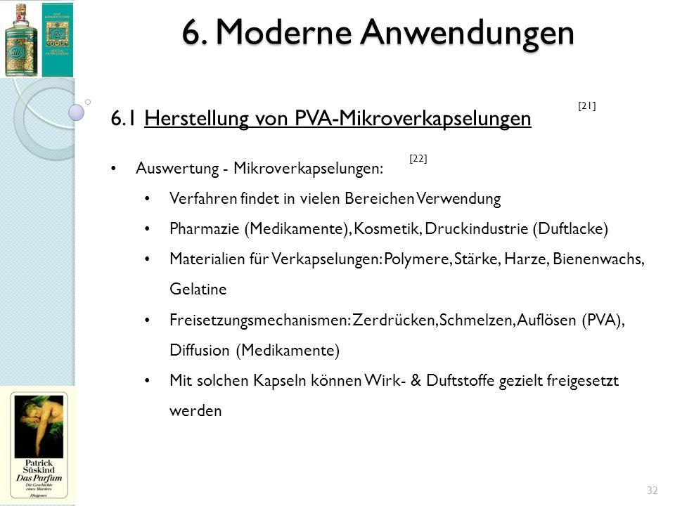 6. Moderne Anwendungen 32 6.1 Herstellung von PVA-Mikroverkapselungen Auswertung - Mikroverkapselungen: Verfahren findet in vielen Bereichen Verwendun