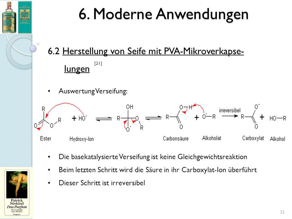 6. Moderne Anwendungen 35 6.2 Herstellung von Seife mit PVA-Mikroverkapse- lungen Auswertung Verseifung: Die basekatalysierte Verseifung ist keine Gle