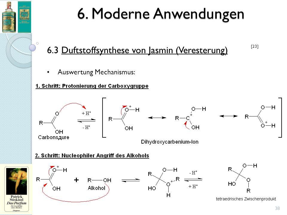 6. Moderne Anwendungen 38 6.3 Duftstoffsynthese von Jasmin (Veresterung) Auswertung Mechanismus: [23]