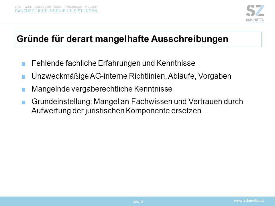 www.schimetta.at Gründe für derart mangelhafte Ausschreibungen Seite 14 ■Fehlende fachliche Erfahrungen und Kenntnisse ■Unzweckmäßige AG-interne Richt