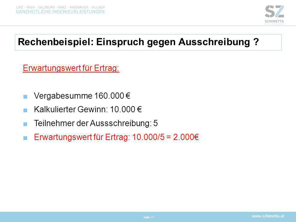 www.schimetta.at Rechenbeispiel: Einspruch gegen Ausschreibung ? Seite 17 Erwartungswert für Ertrag: ■Vergabesumme 160.000 € ■Kalkulierter Gewinn: 10.