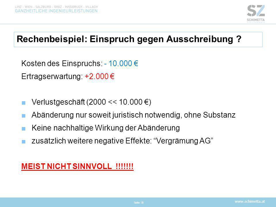 www.schimetta.at Rechenbeispiel: Einspruch gegen Ausschreibung ? Seite 18 Kosten des Einspruchs: - 10.000 € Ertragserwartung: +2.000 € ■Verlustgeschäf