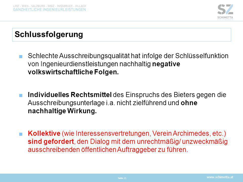www.schimetta.at Schlussfolgerung Seite 21 ■Schlechte Ausschreibungsqualität hat infolge der Schlüsselfunktion von Ingenieurdienstleistungen nachhalti