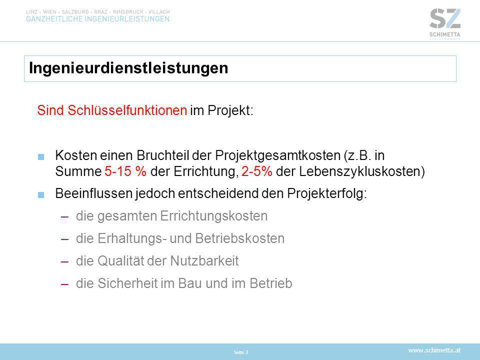 www.schimetta.at Ingenieurdienstleistungen Seite 3 Sind Schlüsselfunktionen im Projekt: ■Kosten einen Bruchteil der Projektgesamtkosten (z.B. in Summe