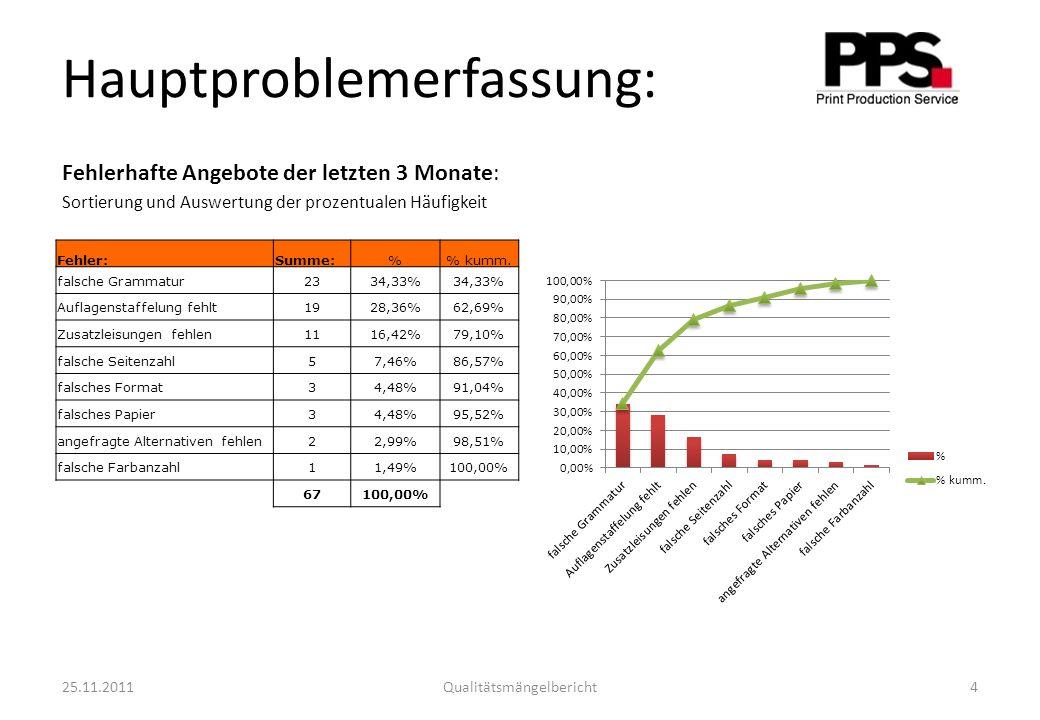 Hauptproblemerfassung: Fehlerhafte Angebote der letzten 3 Monate: Sortierung und Auswertung der prozentualen Häufigkeit Fehler:Summe:% kumm.