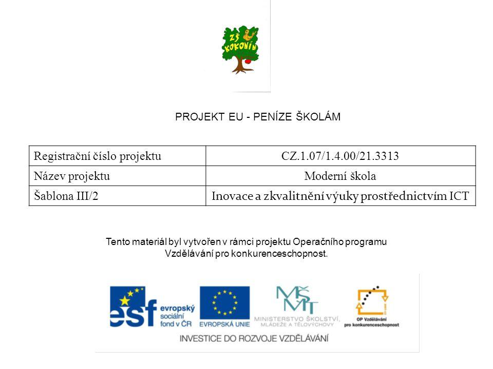 PROJEKT EU - PENÍZE ŠKOLÁM Registrační číslo projektuCZ.1.07/1.4.00/21.3313 Název projektuModerní škola Šablona III/2 Inovace a zkvalitnění výuky prostřednictvím ICT Tento materiál byl vytvořen v rámci projektu Operačního programu Vzdělávání pro konkurenceschopnost.