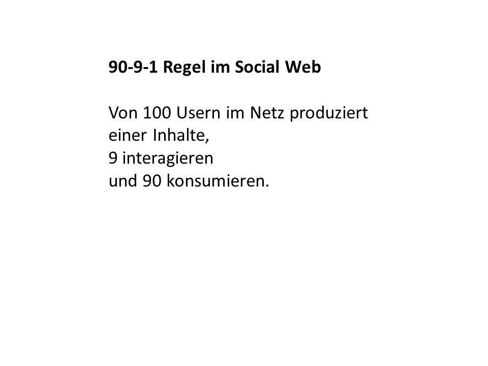 90-9-1 Regel im Social Web Von 100 Usern im Netz produziert einer Inhalte, 9 interagieren und 90 konsumieren.