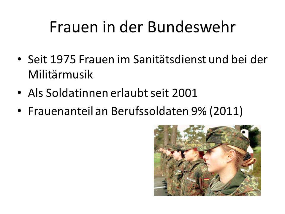 Frauen in der Bundeswehr Seit 1975 Frauen im Sanitätsdienst und bei der Militärmusik Als Soldatinnen erlaubt seit 2001 Frauenanteil an Berufssoldaten 9% (2011)