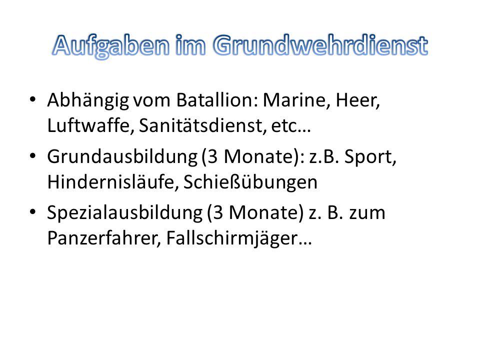 Abhängig vom Batallion: Marine, Heer, Luftwaffe, Sanitätsdienst, etc… Grundausbildung (3 Monate): z.B.